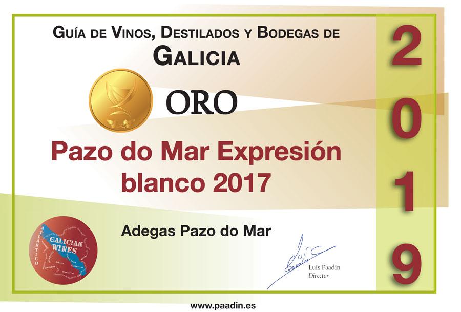 Medalla de Oro 2019 Pazo do Mar Blanco 2017 - Guía de Vinos, Destilados y Bodegas de Galicia