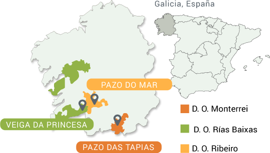Mapa Denominaciones de Origen vinos de Galicia