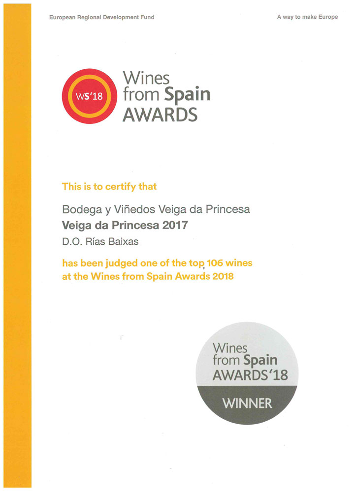 Diploma Wines from Spain Awards - Veiga da Princesa 2017